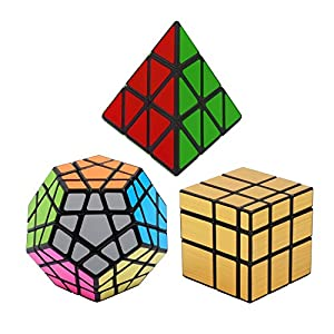 Squaad Set of 3 Magic cubes- Pyraminx Pyramid 3-d Puzzle cube, Megaminx Cube and Gold Mirror Cube , Black