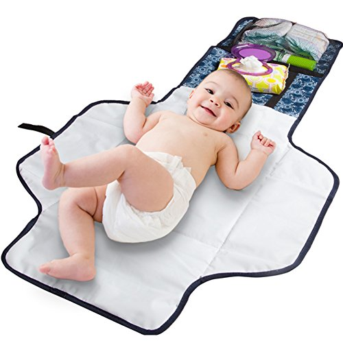 Baby Diaper Changing Pad - Beautiful Designer Diaper Changing Mat. Built In Head Cushion - Portable Diaper Changing Station for Travel and Home. Baby Changing Table Pad.