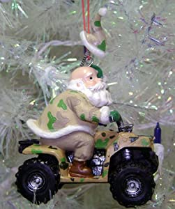 "3"" Santa Claus Hunter In Camouflage on 4-Wheel ATV Christmas Ornament"