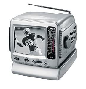 "Coby CX-TV1 5"" Black-and-White TV with AM/FM Tuner"