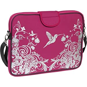 Laurex 15.6-Inch Laptop/Notebook Sleeve Case Bag with Handle and Shoulder Strap - Pink Stamp by Laurex
