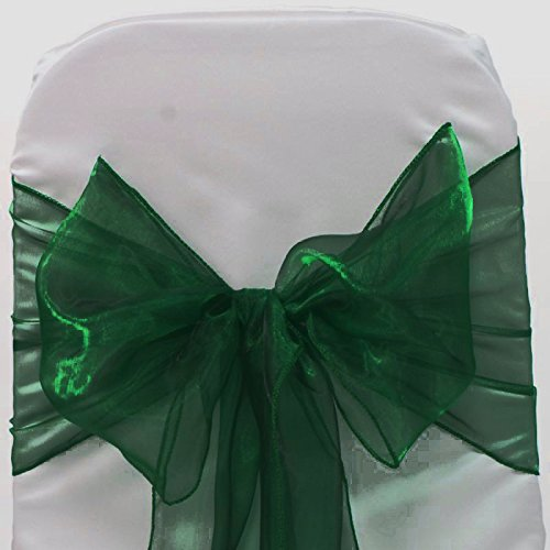 MDS 50 Organza Chair Cover Bow Sash Wedding Banquet Decor -Hunter Green