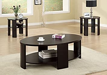 CHERRY CONTEMPORARY OVAL COCKTAIL TABLE (SIZE: 48L X 32W X 18H)