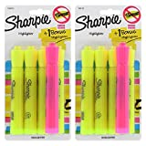 Sharpie Accent Tank Highlighters, Chisel Tip, Fluorescent Yellow, 4-Count (Pack of 2) (Color: Yellow, Tamaño: 2 Pack)