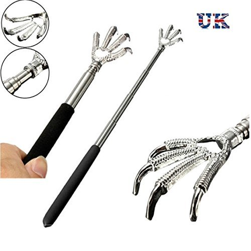 Portable Eagle Claw Telescopic Stainless Back Scratcher Rubber Grip