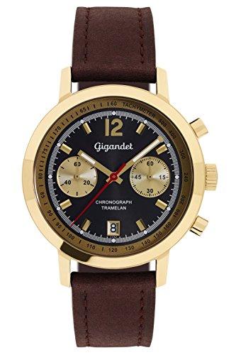 Gigandet Tramelan Orologio da Uomo Quarzo Cronografo Analogico Data Marrone Oro G10-009