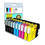 10 compatible ink cartridges for Brother printers DCP-145C, DCP-165C, LC1100, LC980by Odyssey Supplies