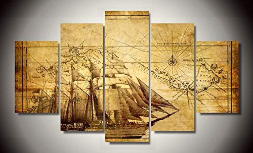 Nautical World Map Antique Vintage Retro Classic Canvas Prints Picture Painting Framed Ready to Hang (5 Panels/Set) (Nautical Paintings compare prices)