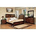 Patra Asian Contemporary Style Acacia Walnut Finish Queen Size 6-Piece Bedroom Set