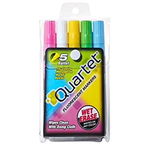 Quartet Glo-Write Fluorescent Markers, Wet-Erase, Assorted Colors, 5 Pack (5090)