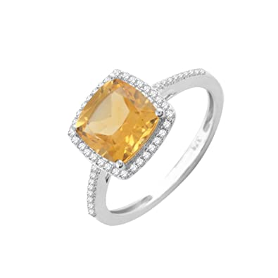 Pave Prive 9ct White Gold with Cushion Citrine and White Diamonds Square Ring - Size O