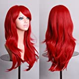 "28"" Long Heat Resistant Big Wavy Dark Red Cosplay Wig"