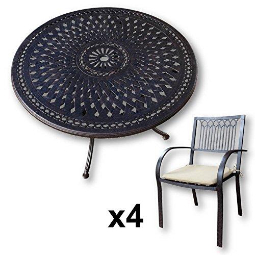 lazy susan alice 120 cm runder gartentisch mit 4 st hlen gartenm bel set aus metall antik. Black Bedroom Furniture Sets. Home Design Ideas