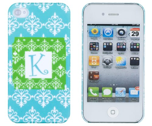 """Turquoise Floral Monogrammed """" K """" Embossed Hard Case For Apple Iphone 4, 4S (At&T, Verizon, Sprint) - Includes Dandycase Keychain Screen Cleaner [Retail Packaging By Dandycase] front-137433"""