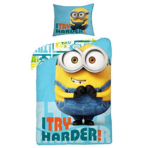 "Copripiumino Minions ""I Try Harder!"" Disney 140 x 200 cm 100% cotone"