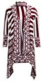 U76 NEW WOMENS AZTEC STRIPE LADIES WATERFALL OVER SIZED KNITTED CARDIGAN IN PLUS 08-18