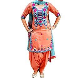 Reet Glamour Women 's Georgette Unstitched Orange Punjabi Embroidered Suit