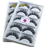 2Box/Lot 3D Real Mink False Eyelashes LASGOOS 100% Siberian Mink Fur Luxurious Wispy Natural Cross Thick Long 10Pairs Fake Eye Lashes K01