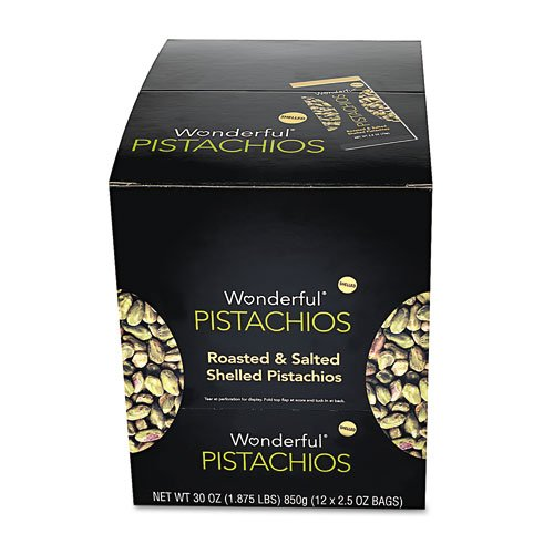 Wonderful Shelled Pistachios Roasted & Salted 2.5 oz. Pack 12/Box