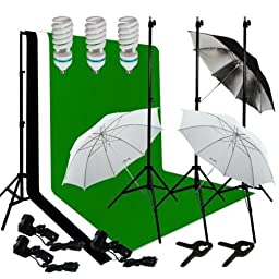 Ivationstudio Photography Lighting Kit Bundle with 10 Feet Background Support, Muslin Backdrops and Accessories - Green Black and White