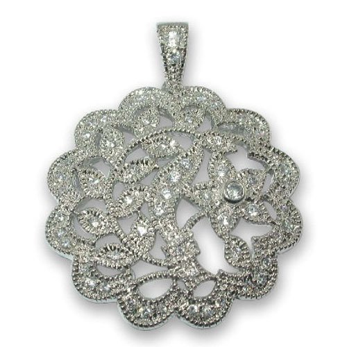 C.Z. (.925) STERLING SILVER ANTIQUE ROUND RHODIUM PLATED PENDENT (Nice Holiday Gift, Special Black Firday Sale)