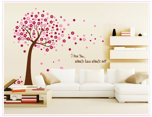 Apexshell (Tm) I Love You Quote Pink Sukura Flowers Removable High Quality Diy Decorate Wall Decal Sticker Decor For Kids, Home, Nursery Room, For Children'S Bedroom front-7463