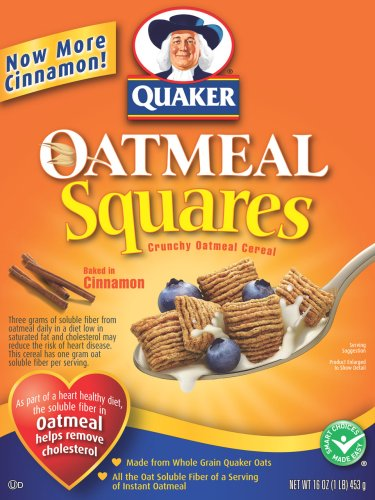 Quaker Oatmeal Squares, Crunchy Oatmeal Baked in Cinnamon, 16-Ounce Boxes (Pack of 6)