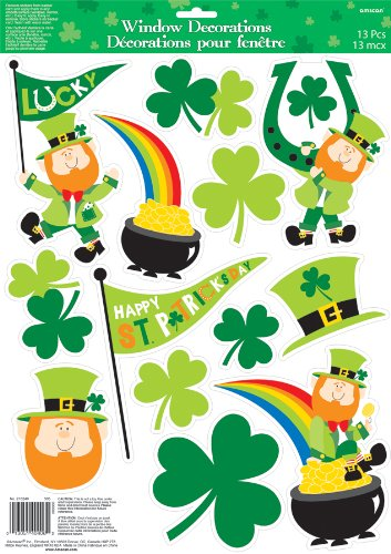 Amscan St Partick's Day Vinyl Window Cling Decorations 13 Ct