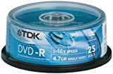 TDK DVD-R Recordable Disk Write-once on Spindle 16x Speed 4.7Gb Ref DVD-R47CBED25-SPI [Pack 25]