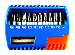 SCHOFIC 11 in 1 Bit Set With Slotted, Phillips, Torx Bits and Quick Release Holder with Magnetic 1/4-Inch Screwdriver [Bit Holder] Multifunction For Professional Household Repair Laptop / TV / Monitor / Printer / Mobile Phone - Blue
