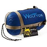 寝袋 Wolfyok シュラフ 丸洗いOK 封筒型 スリーピングバッグ(190cm×73cm) 軽量 キャンプ アウトドア 収納袋付 【最低使用温度10°】