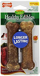 Nylabone Healthy Edibles Regular Roast Beef Flavored Twin Pack Dog Treat Bone