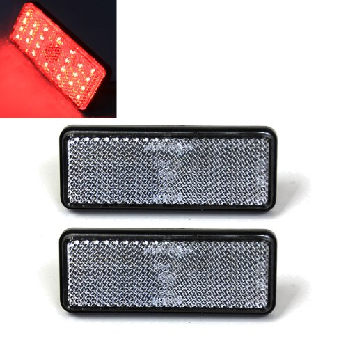 Red Light Clear Lens 24 Led Rectangle Reflectors Tail Brake Stop Marker Light Truck Trailer Rv Atv Motorcycle