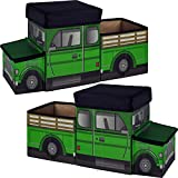 Two Green Truck Tractor Ride On Box to Store State Farm Animals, Ranch Equipment Playsets And Dodge Pickup Trailer Toys. Unique, Cool Gift Gadget for Birthday Party of Boy or Man