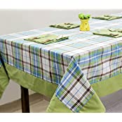 AURAVE Green Check Cotton Table Cover With Napkins (8 Seater)