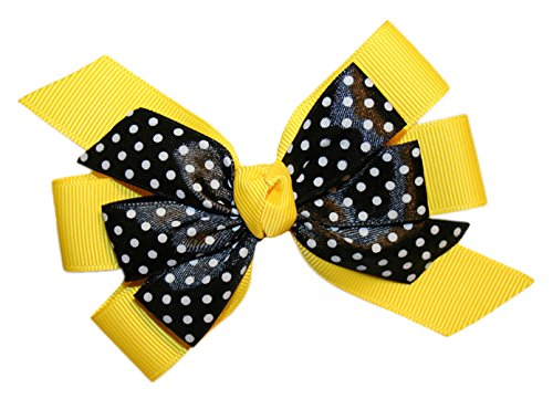 Webb Direct 2U Girls Yellow Dotted Grosgrain Hair Bow On Alligator Clip (5065A) front-934082