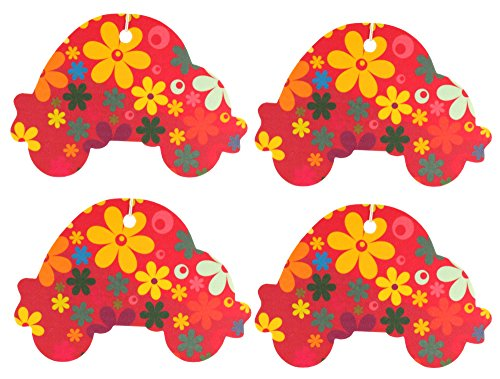 Set of Four Car Shaped Air Fresheners With Retro Style Flowers Pattern, Cinnamon (Flower Shaped Air Freshener compare prices)