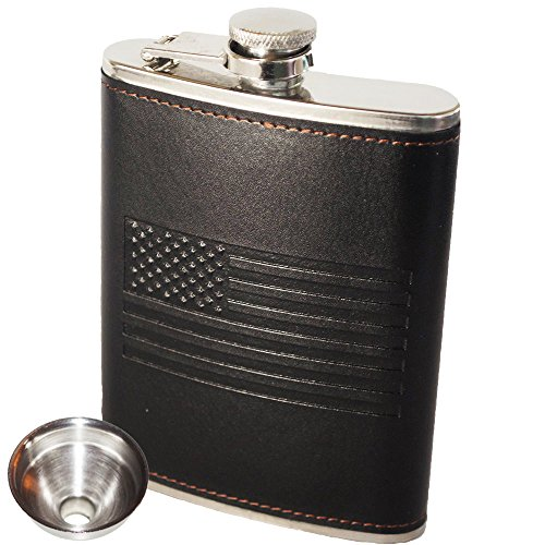 Hip Flask with Soft Touch Cover and Superior Construction - Leak Proof with Slim Profile Classic American Flag Design | Includes Funnel