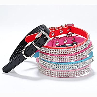 2 Rows Rhinestone Bling Heart Studded Leather Dog Collar For Small Or Medium Pet Collar Assorted Colours