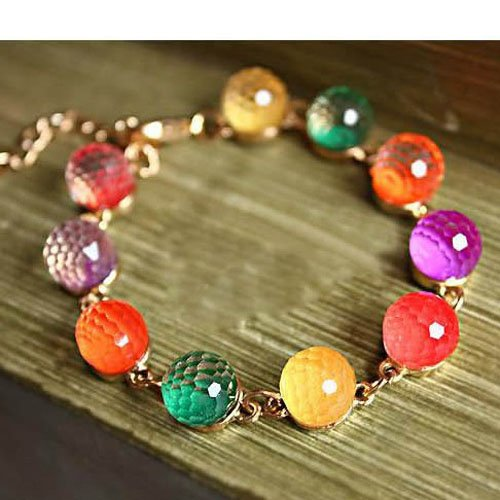 Sweet Colorful Resin Bead Ball Bracelet Bangle By Tj Special