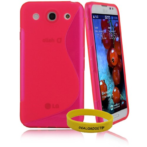 =>  Dealgadgets S line Ultra Durable Flexible TPU Case for LG Optimus G Pro Smart Phone (2013 Release with 5.5 Inch Display) with Free Wristband from Dealgadgets (Hot Pink)