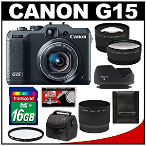 Canon PowerShot G15 Digital Camera (Black) with 16GB Card + Case + Wide Angle & Telephoto Lenses + UV Filter + Hood + Accessory Kit