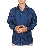 Men's Cotton blend guayabera long sleeve, color: Navy