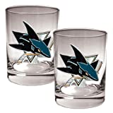 San Jose Sharks NHL 2pc Rocks Glass Set - Primary Logo