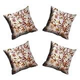 MeSleep Digitally Printed Chain Stitch Micro Fabric 4 Piece Cushion Cover Set - Cream