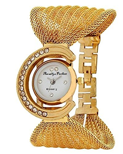 Aaradhya Fashion Golden Analogue White Dial Fancy Jaal Watch For Women