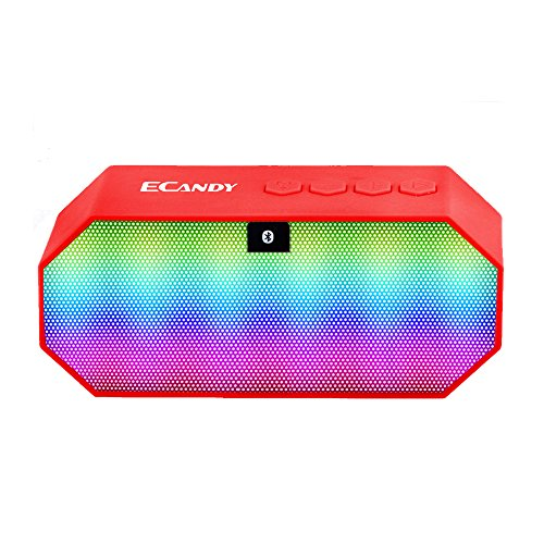 Ecandy Mini Led Altavoz Bluetooth incorporado 800mAh libre manos 18650 llamando Micrófono FM / TF / USB Soporte Ultra Altavoces inalámbricos portátiles funciona para Iphone, Ipad Mini, ipad 4/3/2, iTouch, Samsung, LG, Motorola, HTC, Nexus y otros teléfonos inteligentes (rojo)