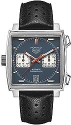 TAG Heuer Men's CAW211P.FC6356 Monaco Analog Swiss Automatic Black Leather Watch