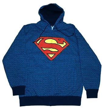 DC Comics Superman Repeat Logos Zip Front Hooded Sweatshirt (Adult Medium)