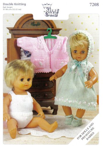 "King Cole Dolls Clothes and Premature Babies Outfits Knitting Pattern: Dress, Bonnet, Shoes, Vest, Panties, Cardigan  (To fit doll 12""-14"" 15""-18"" 19""-22"" - 31cm-56cm)"